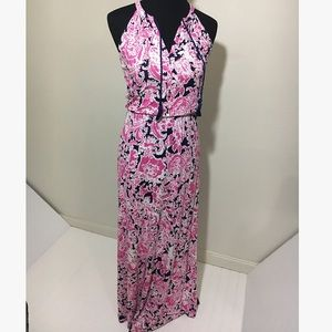 Cynthia Rowley Pink White and Navy Blue Maxi Dress